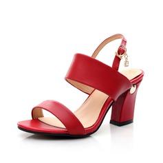 Femmes Vrai cuir Talon bottier Sandales Escarpins avec Boucle chaussures