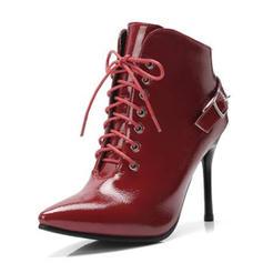 Femmes Cuir verni Talon stiletto Escarpins Bottines avec Boucle chaussures