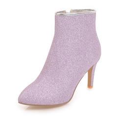 Femmes Pailletes scintillantes Talon stiletto Bout fermé Bottes Bottines avec Zip chaussures