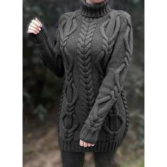 Sólido Manga Larga Ajustado Sobre la Rodilla Pequeños Negros/Casual Suéter Vestidos
