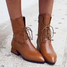 Donna PU Tacco spesso Stivali alla caviglia con Allacciato scarpe