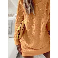 Solid/Perlebrodering Lange ærmer Shift Over knæet Casual Sweater Kjoler