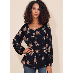 Print Floral Round Neck Long Sleeves Casual Elegant T-shirts