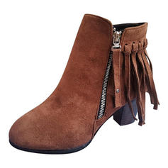 Women's PU Chunky Heel Pumps Closed Toe Boots Ankle Boots With Tassel shoes