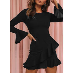 Solid Long Sleeves/Flare Sleeves Bodycon Above Knee Little Black/Party/Elegant Dresses
