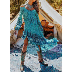 Print Long Sleeves/Cold Shoulder Sleeve A-line Asymmetrical Casual/Vacation Skater Dresses