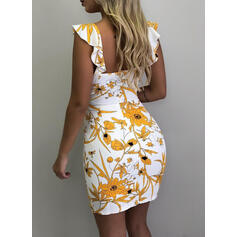Print/Floral Sleeveless Bodycon Above Knee Sexy/Casual Tank Dresses