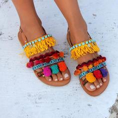 Donna PU Senza tacco Sandalo Ballerine Punta aperta con Nappa scarpe