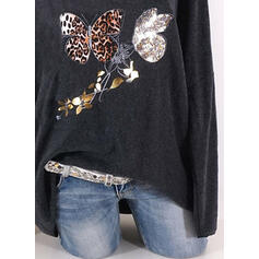 Animal Print Leopard Round Neck Long Sleeves Casual T-shirts