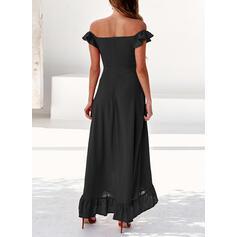 Solide Cap Mouw A-lijn Asymmetrische Zwart jurkje/Sexy/Feest Jurken