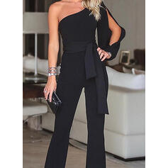 Solid One Shoulder Long Sleeves Elegant Party Jumpsuit