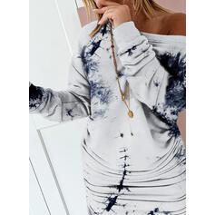 Tie Dye Long Sleeves Bodycon Above Knee Casual Sweatshirt Dresses