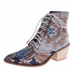 Vrouwen PU Chunky Heel Laarzen met Van Toepassing Satijnen Strik schoenen