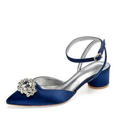 Women's Silk Like Satin Chunky Heel Closed Toe Sandals Slingbacks With Rhinestone