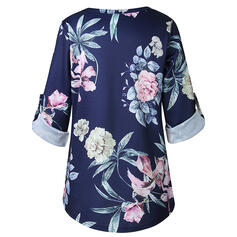 Print Floral V-Neck Long Sleeves Casual Shirt Blouses