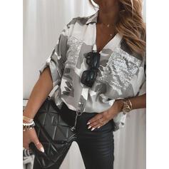 Print Sequins Lapel Long Sleeves Casual Shirt Blouses