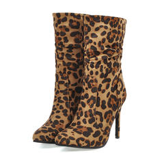Women's Leatherette Stiletto Heel Ankle Boots With Animal Print Ruched shoes