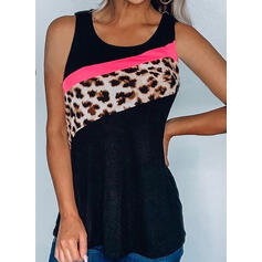 Retalhos Leopardo Gola Redonda Sem Mangas Casual Camisetas regata