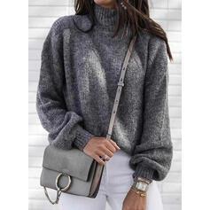 固体 タートルネック カジュアル セーター