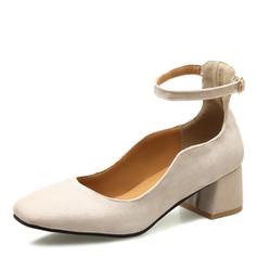 Dla kobiet Zamsz Obcas Slupek Czólenka Zakryte Palce Mary Jane Z Klamra obuwie