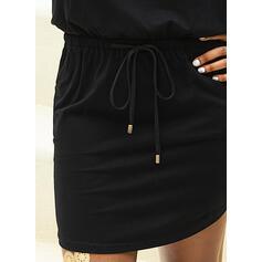 固体 ノースリーブ シースドレス 膝上 カジュアル タンク ドレス