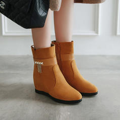 Women's Leatherette Wedge Heel Boots Ankle Boots With Rhinestone shoes