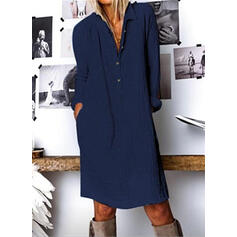 Solid Long Sleeves Shift Knee Length Casual Shirt Dresses