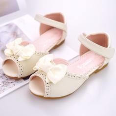 Fille de Cuir en microfibre talon plat À bout ouvert Ballet plat Chaussures plates Chaussures de fille de fleur avec Bowknot Velcro Une fleur