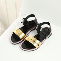 Fille de similicuir talon plat À bout ouvert Sandales Chaussures plates Chaussures de fille de fleur avec Velcro