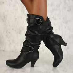 Women's Leatherette Low Heel Pumps Boots Knee High Boots With Buckle shoes