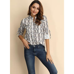 Print V-Neck Long Sleeves Casual Shirt Blouses