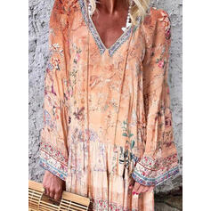 Print/Floral Long Sleeves Shift Knee Length Casual/Vacation Tunic Dresses