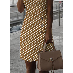 PolkaDot Sleeveless Bodycon Knee Length Elegant Dresses