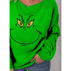 Print Cable-knit Round Neck Casual Christmas Sweaters