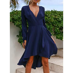 Solid Long Sleeves A-line Asymmetrical Party Dresses