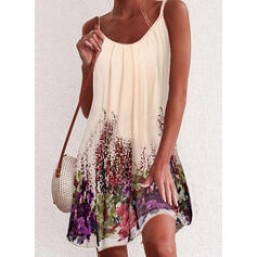 Print Sleeveless Shift Above Knee Sexy/Casual/Vacation Slip Dresses