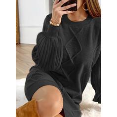 Sólido Manga Larga/Manga de Linterna Tendencia Sobre la Rodilla Casual Suéter Vestidos