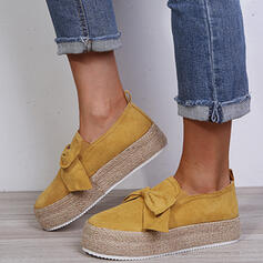 Vrouwen Suede Flat Heel Flats met strik schoenen