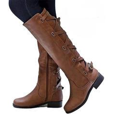 Frauen Kunstleder Flascher Absatz Flache Schuhe Stiefel Stiefel über Knie mit Schnalle Schuhe