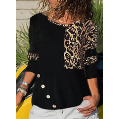 Leopard Rund hals Lange ærmer Button-up Casual Skjorter