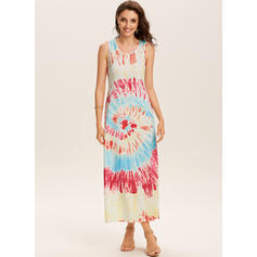Tie Dye Sleeveless Shift Casual Maxi Dresses