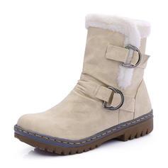 Kvinner PU Flat Hæl Mid Leggen Støvler Snø Støvler med Spenne sko