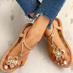 Frauen PU Flascher Absatz Sandalen Peep Toe mit Blume Schuhe