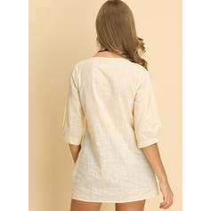 Solid Embroidery V Neck 1/2 Sleeves Casual Blouses