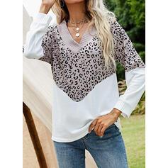 Color Block Leopard V-hals Lange ermer Genser