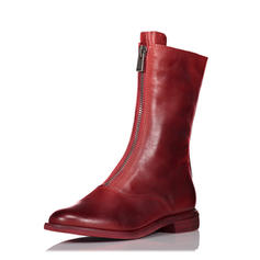 Women's Real Leather Flat Heel Flats Boots Mid-Calf Boots With Zipper shoes