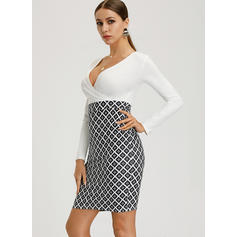 Print Long Sleeves Bodycon Knee Length Casual/Elegant Dresses