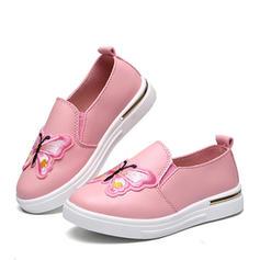 A menina de imitação de couro Heel plana Fechados Loafers & Slip-Ons Sem salto com Aplicação