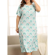 Round Neck Short Sleeves Floral Plus Size Attractive Night Dress
