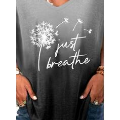 Dandelion Gradient Print Letter V-Neck Short Sleeves T-shirts
